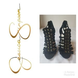 Jessica Simpson Black and Gold Caged Heels SZ 8.5